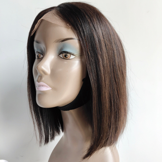 Indian remy human hair short bob 4*4 lace frontal wig