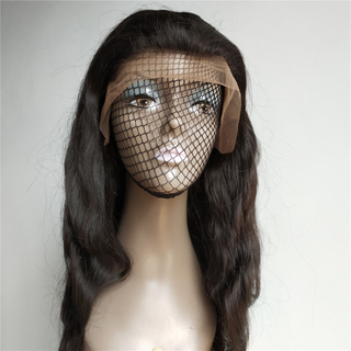 Natural color body wave indian remy human hair frontal lace wig
