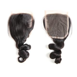 6A loose wave brazilian human hair 4*4 lace closure