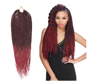 "FeiBin Synthetic Hair Crochet Braids 24"" 2X Big Senegalese Twist (Havana Mambo Twist Style) Crochet Hair for Black Women (6 Pack, 1B)"