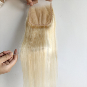 Top Quality 613# Color Straight Human Hair Remy Brazilian 4*4 Hair Closure